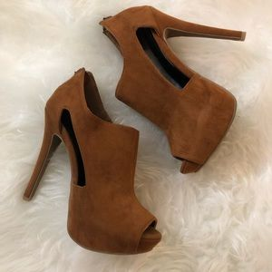 Shoes - Camel Open Toe Heels with Cute Cut Outs